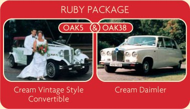 Ruby Package - Cream Vintage Style Convertible and Cream Diamler - Click for More Details